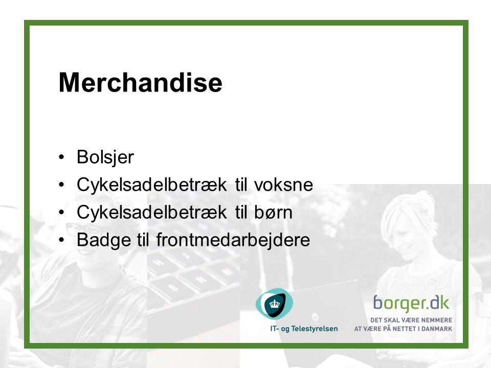 Merchandise Bolsjer Cykelsadelbetræk til voksne Cykelsadelbetræk til børn Badge til frontmedarbejdere