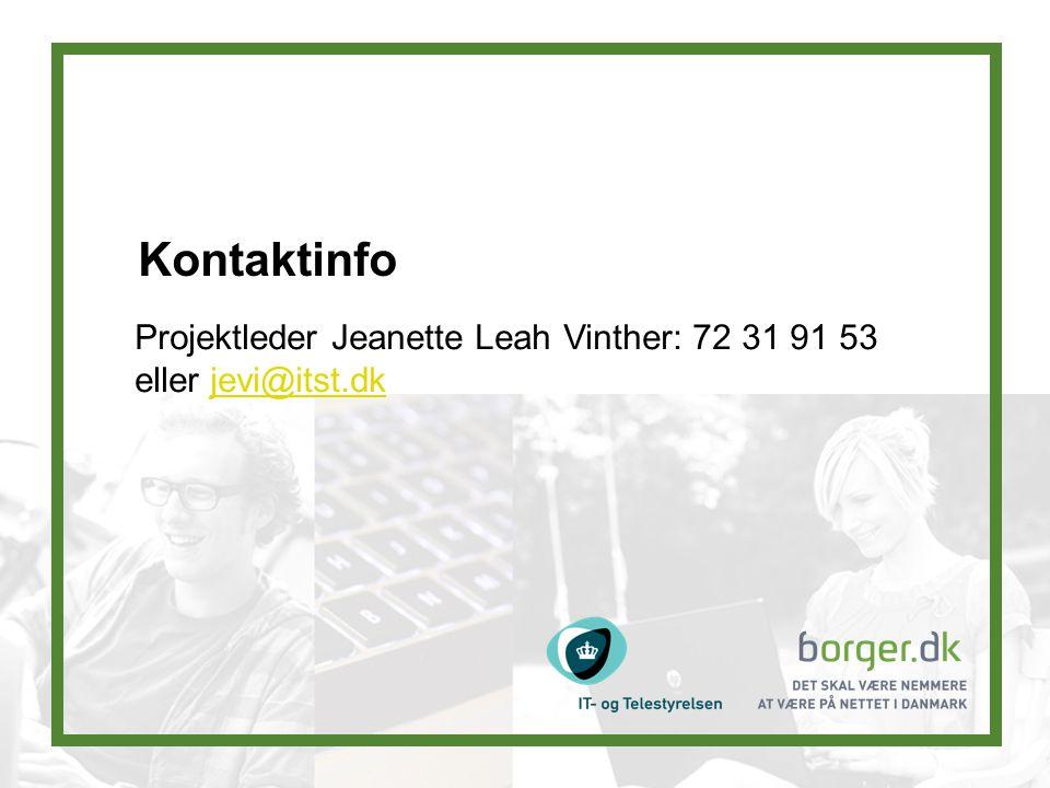 Kontaktinfo Projektleder Jeanette Leah Vinther: 72 31 91 53 eller jevi@itst.dkjevi@itst.dk