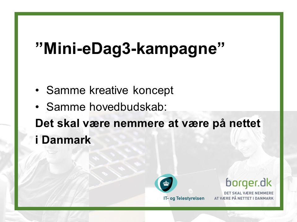 Mini-eDag3-kampagne Samme kreative koncept Samme hovedbudskab: Det skal være nemmere at være på nettet i Danmark