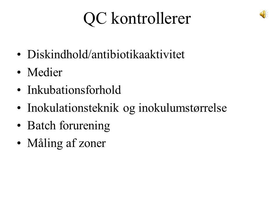 QC kontrollerer Diskindhold/antibiotikaaktivitet Medier Inkubationsforhold Inokulationsteknik og inokulumstørrelse Batch forurening Måling af zoner