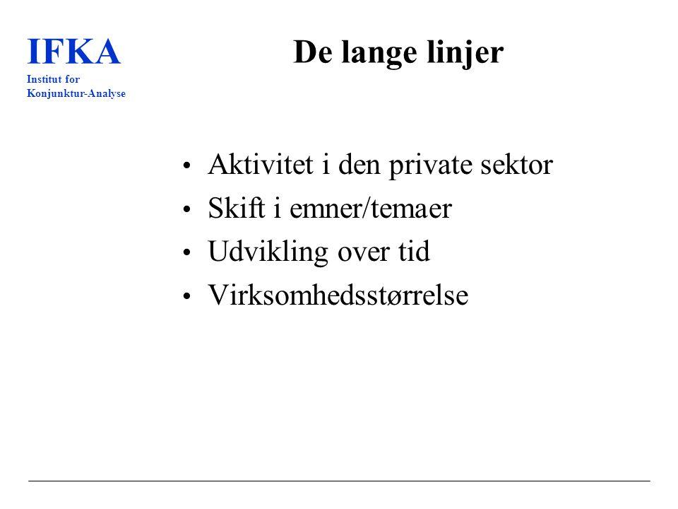 IFKA Institut for Konjunktur-Analyse De lange linjer Aktivitet i den private sektor Skift i emner/temaer Udvikling over tid Virksomhedsstørrelse