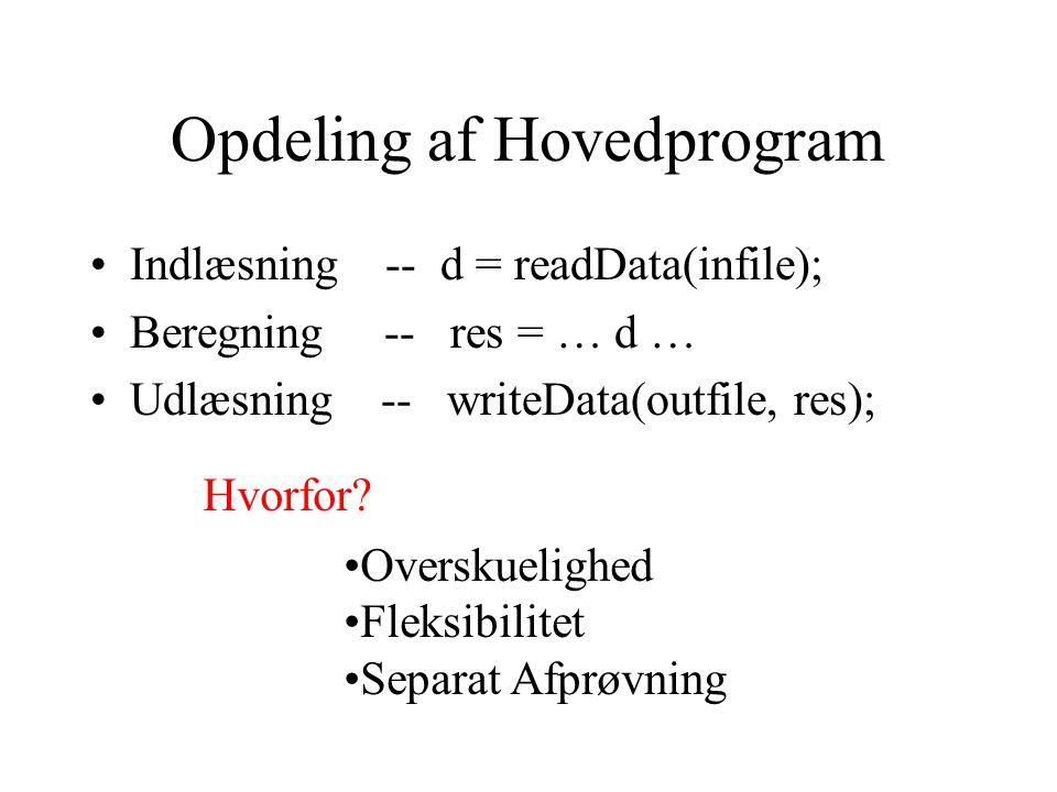 Opdeling af Hovedprogram Indlæsning -- d = readData(infile); Beregning -- res = … d … Udlæsning -- writeData(outfile, res); Hvorfor.