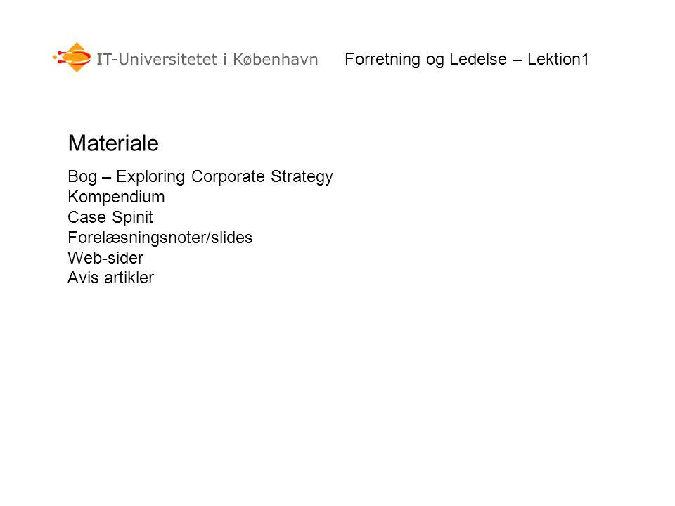 Forretning og Ledelse – Lektion1 Materiale Bog – Exploring Corporate Strategy Kompendium Case Spinit Forelæsningsnoter/slides Web-sider Avis artikler