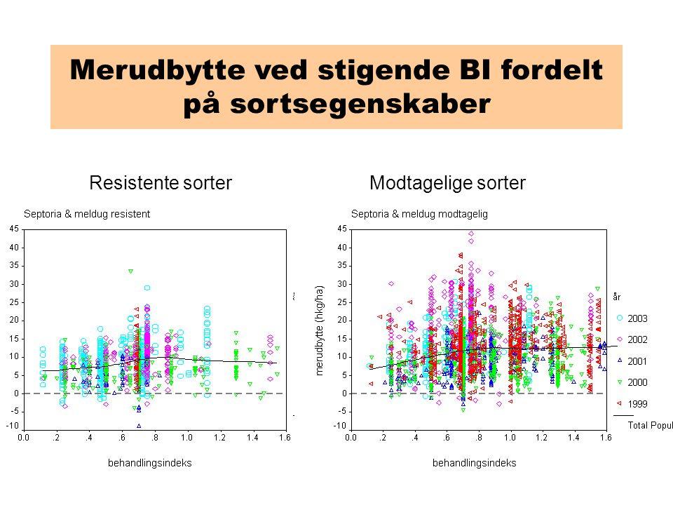 Merudbytte ved stigende BI fordelt på sortsegenskaber Resistente sorterModtagelige sorter