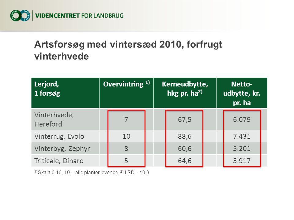 Artsforsøg med vintersæd 2010, forfrugt vinterhvede Lerjord, 1 forsøg Overvintring 1) Kerneudbytte, hkg pr.