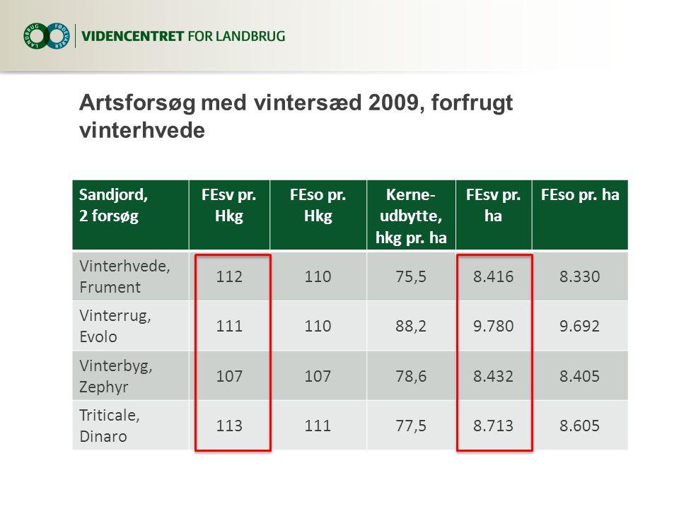 Artsforsøg med vintersæd 2009, forfrugt vinterhvede Sandjord, 2 forsøg FEsv pr.