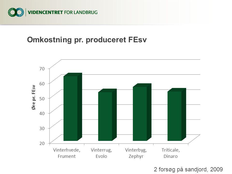 Omkostning pr. produceret FEsv 2 forsøg på sandjord, 2009
