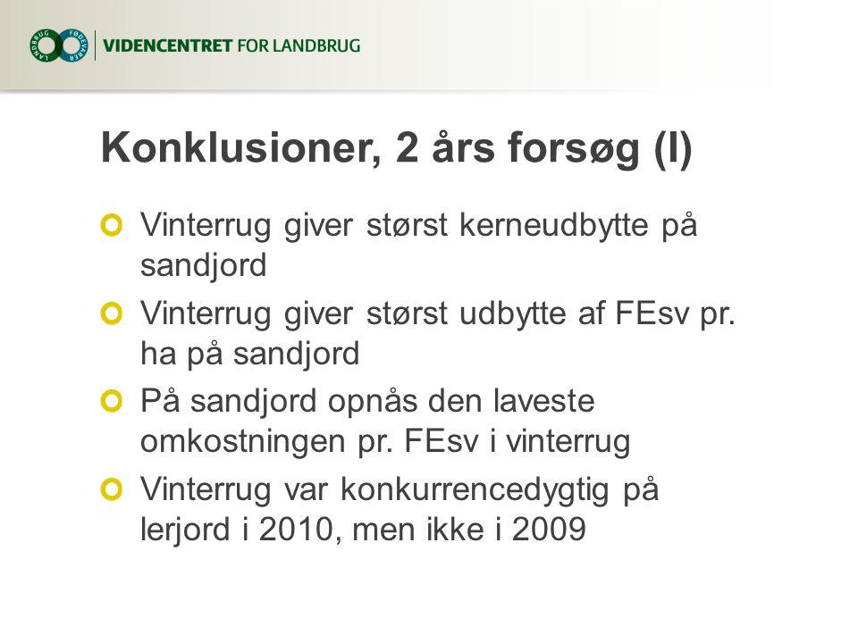 Konklusioner, 2 års forsøg (I) Vinterrug giver størst kerneudbytte på sandjord Vinterrug giver størst udbytte af FEsv pr.