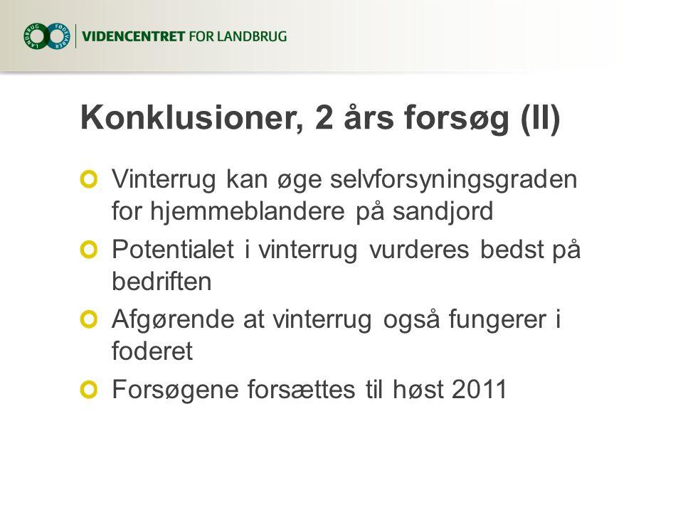 Konklusioner, 2 års forsøg (II) Vinterrug kan øge selvforsyningsgraden for hjemmeblandere på sandjord Potentialet i vinterrug vurderes bedst på bedriften Afgørende at vinterrug også fungerer i foderet Forsøgene forsættes til høst 2011