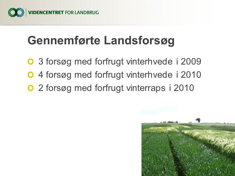 Gennemførte Landsforsøg 3 forsøg med forfrugt vinterhvede i 2009 4 forsøg med forfrugt vinterhvede i 2010 2 forsøg med forfrugt vinterraps i 2010