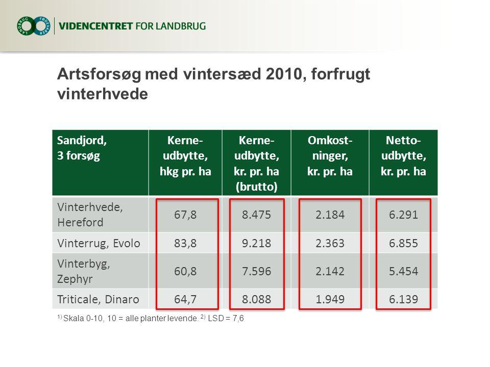 Artsforsøg med vintersæd 2010, forfrugt vinterhvede Sandjord, 3 forsøg Kerne- udbytte, hkg pr.