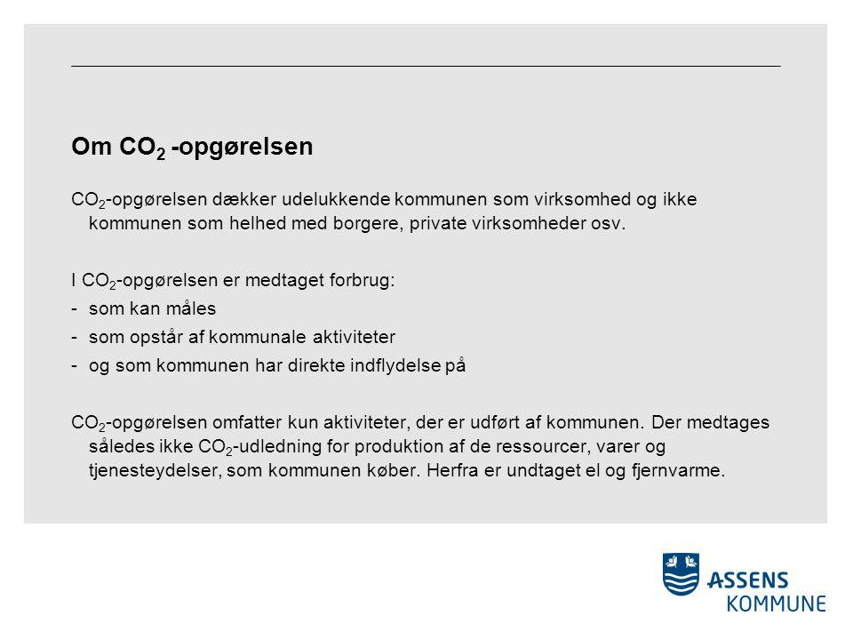 Om CO 2 -opgørelsen CO 2 -opgørelsen dækker udelukkende kommunen som virksomhed og ikke kommunen som helhed med borgere, private virksomheder osv.