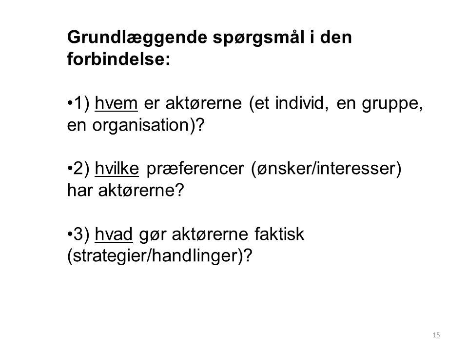 15 Grundlæggende spørgsmål i den forbindelse: 1) hvem er aktørerne (et individ, en gruppe, en organisation).