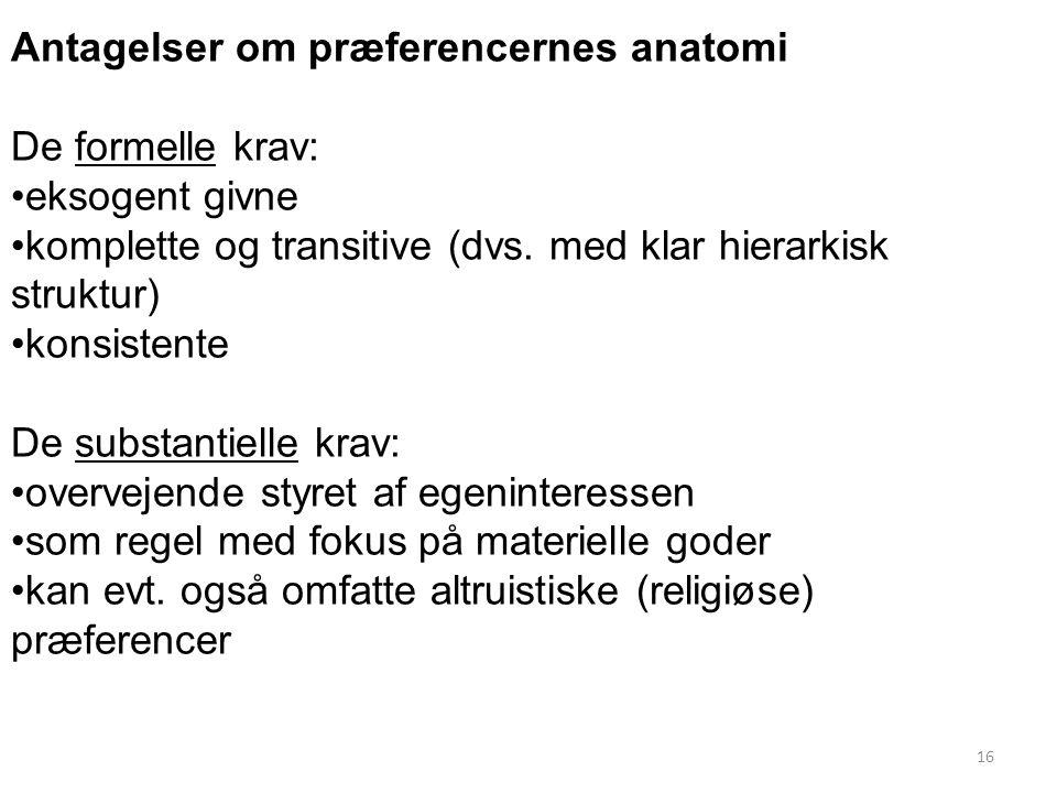 16 Antagelser om præferencernes anatomi De formelle krav: eksogent givne komplette og transitive (dvs.