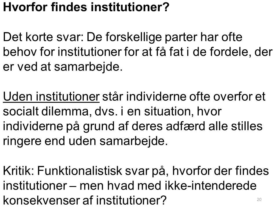 20 Hvorfor findes institutioner.