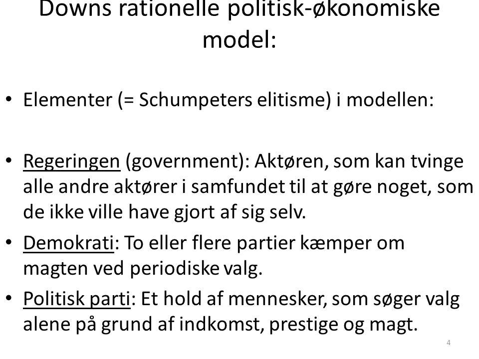 4 Downs rationelle politisk-økonomiske model: Elementer (= Schumpeters elitisme) i modellen: Regeringen (government): Aktøren, som kan tvinge alle andre aktører i samfundet til at gøre noget, som de ikke ville have gjort af sig selv.