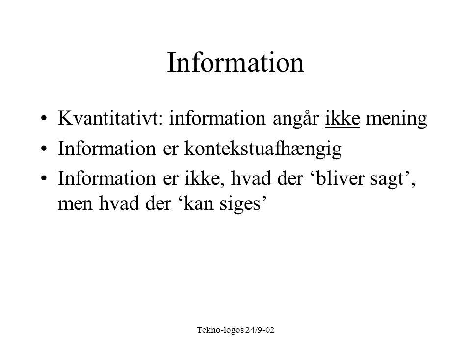 Tekno-logos 24/9-02 Information Kvantitativt: information angår ikke mening Information er kontekstuafhængig Information er ikke, hvad der 'bliver sagt', men hvad der 'kan siges'
