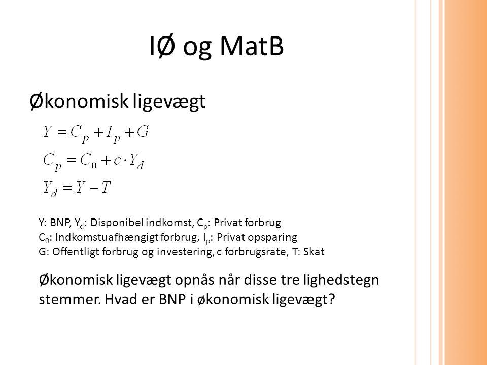 IØ og MatB Økonomisk ligevægt Økonomisk ligevægt opnås når disse tre lighedstegn stemmer.