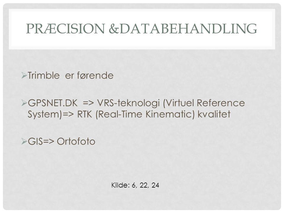 PRÆCISION &DATABEHANDLING  Trimble er førende  GPSNET.DK => VRS-teknologi (Virtuel Reference System)=> RTK (Real-Time Kinematic) kvalitet  GIS=> Ortofoto Kilde: 6, 22, 24