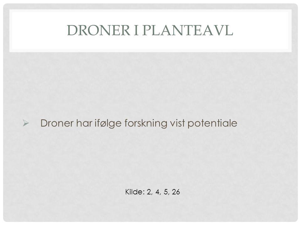 DRONER I PLANTEAVL  Droner har ifølge forskning vist potentiale Kilde: 2, 4, 5, 26