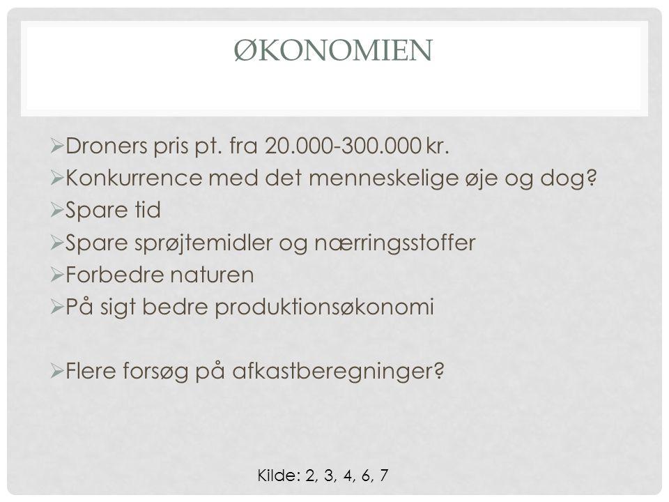 ØKONOMIEN  Droners pris pt. fra 20.000-300.000 kr.