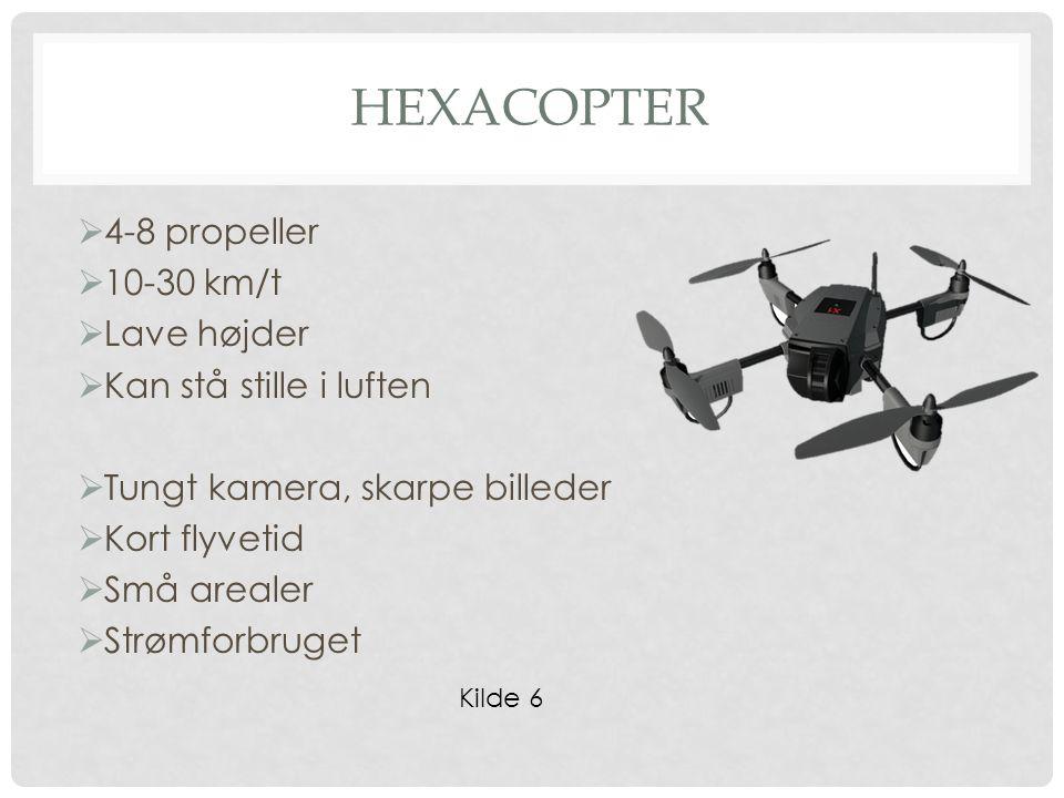 HEXACOPTER  4-8 propeller  10-30 km/t  Lave højder  Kan stå stille i luften  Tungt kamera, skarpe billeder  Kort flyvetid  Små arealer  Strømforbruget Kilde 6