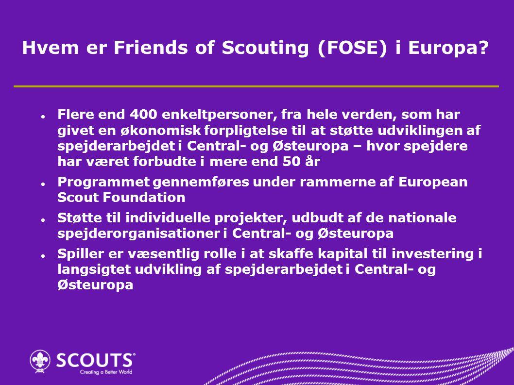 Hvem er Friends of Scouting (FOSE) i Europa.