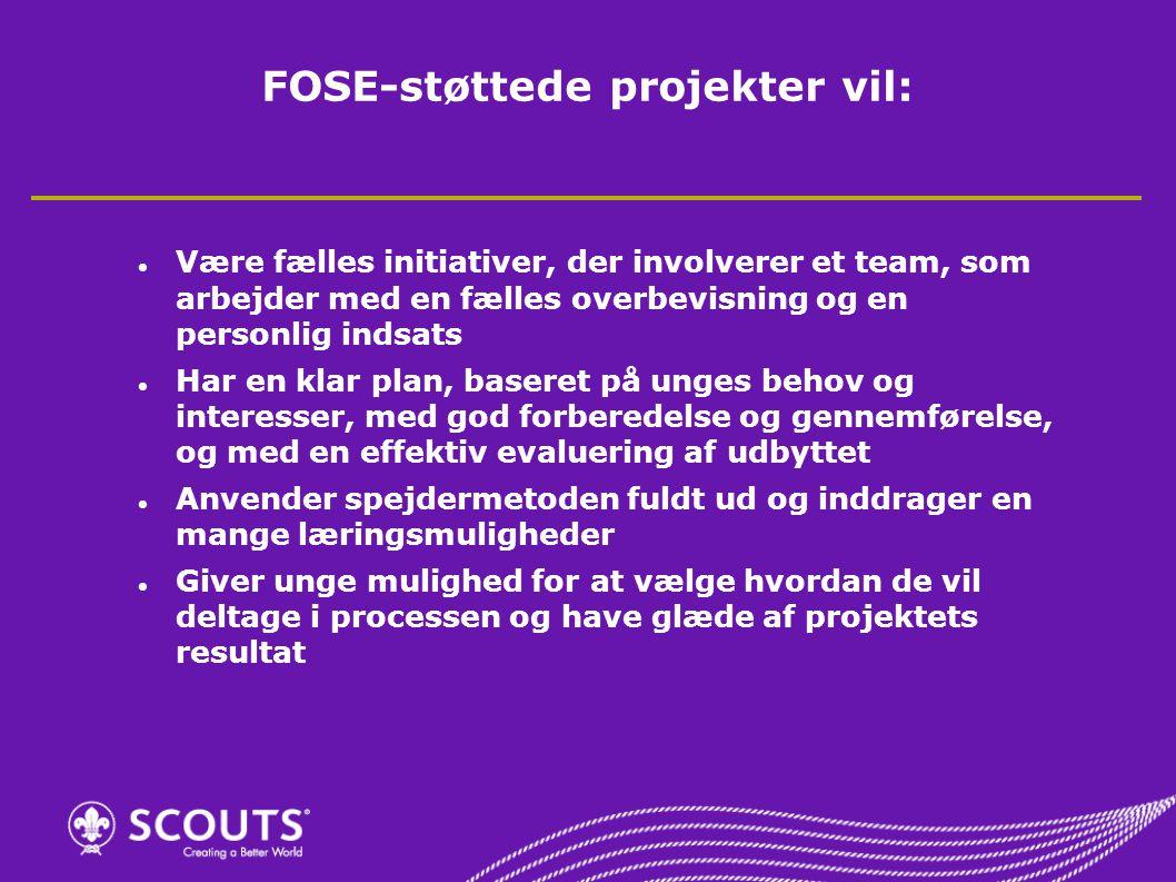 FOSE-støttede projekter vil: Være fælles initiativer, der involverer et team, som arbejder med en fælles overbevisning og en personlig indsats Har en klar plan, baseret på unges behov og interesser, med god forberedelse og gennemførelse, og med en effektiv evaluering af udbyttet Anvender spejdermetoden fuldt ud og inddrager en mange læringsmuligheder Giver unge mulighed for at vælge hvordan de vil deltage i processen og have glæde af projektets resultat