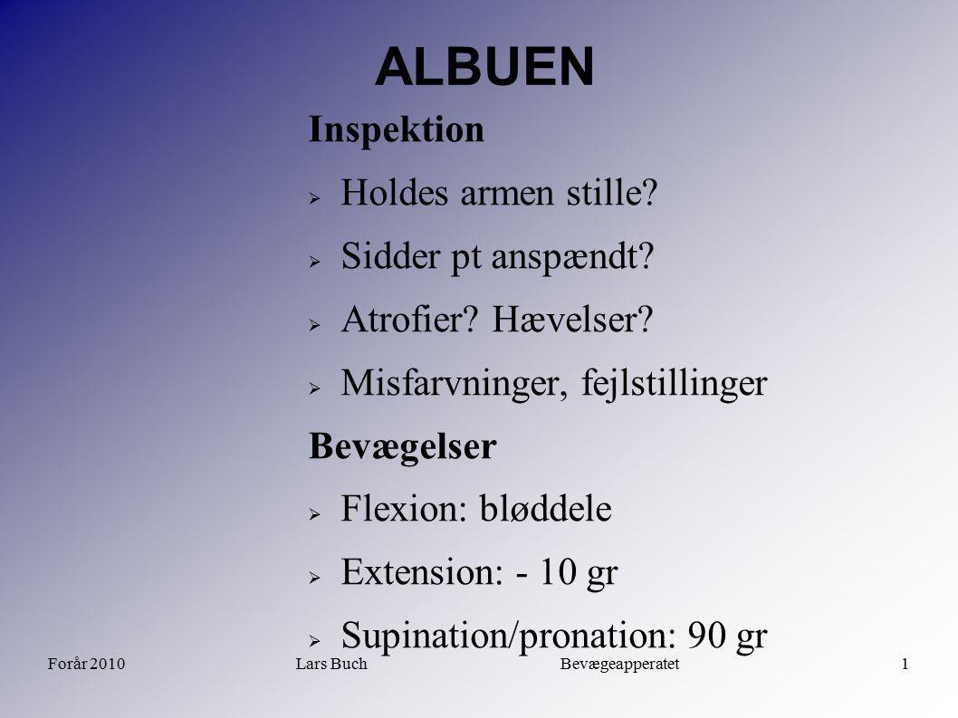 Forår 2010Lars Buch Bevægeapperatet1 ALBUEN Inspektion  Holdes armen stille?  Sidder pt anspændt?  Atrofier? Hævelser?  Misfarvninger, fejlstillin