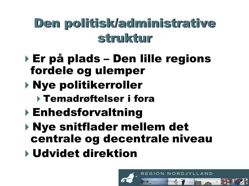Den politisk/administrative struktur  Er på plads – Den lille regions fordele og ulemper  Nye politikerroller  Temadrøftelser i fora  Enhedsforvaltning  Nye snitflader mellem det centrale og decentrale niveau  Udvidet direktion