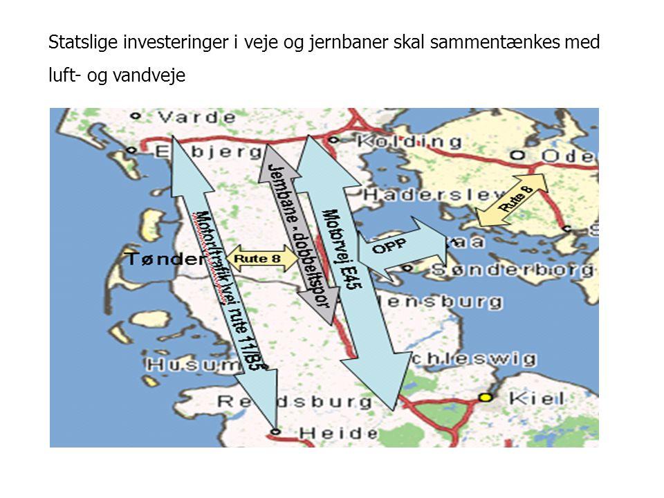 Statslige investeringer i veje og jernbaner skal sammentænkes med luft- og vandveje