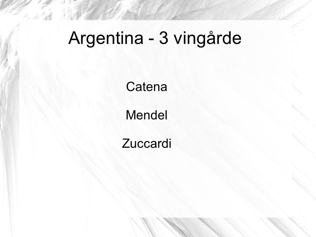 Argentina - 3 vingårde Catena Mendel Zuccardi