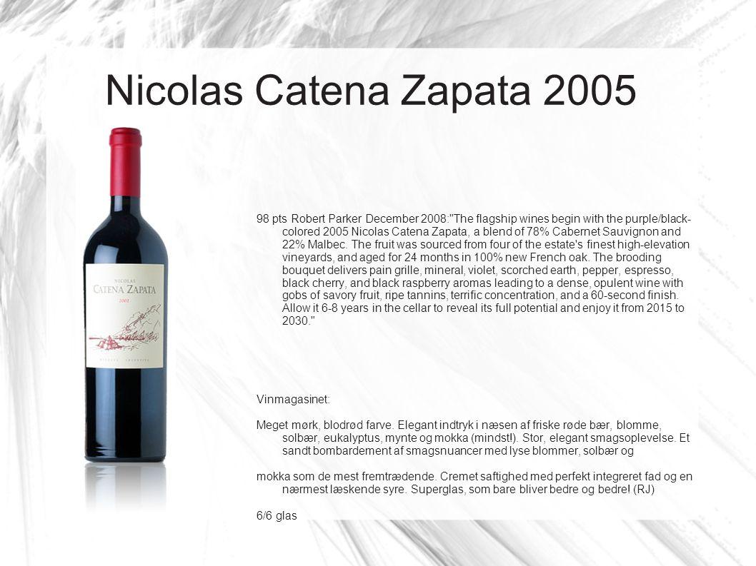 Nicolas Catena Zapata 2005 98 pts Robert Parker December 2008: The flagship wines begin with the purple/black- colored 2005 Nicolas Catena Zapata, a blend of 78% Cabernet Sauvignon and 22% Malbec.