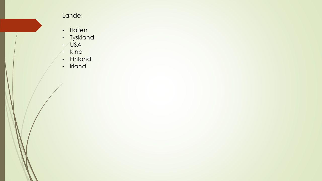 Lande: -Italien -Tyskland -USA -Kina -Finland -Irland