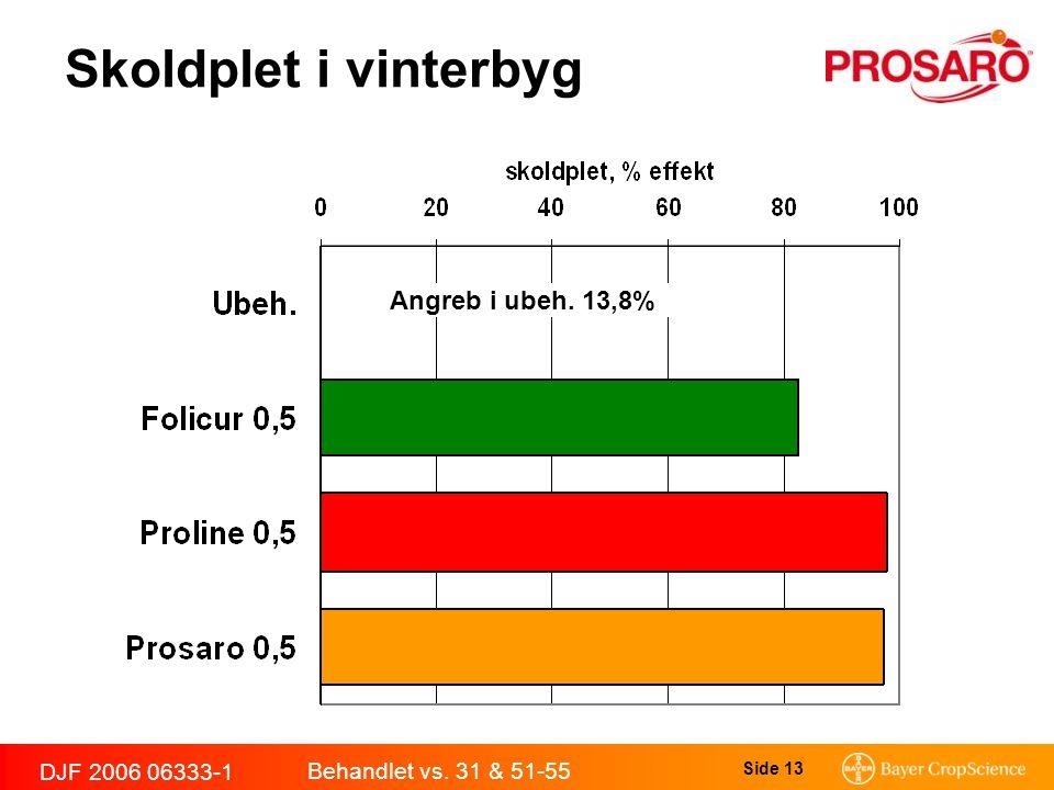 Side 13 Angreb i ubeh. 13,8% Skoldplet i vinterbyg DJF 2006 06333-1 Behandlet vs. 31 & 51-55