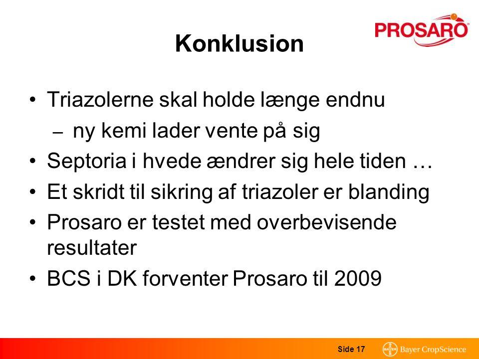Side 17 Konklusion Triazolerne skal holde længe endnu – ny kemi lader vente på sig Septoria i hvede ændrer sig hele tiden … Et skridt til sikring af triazoler er blanding Prosaro er testet med overbevisende resultater BCS i DK forventer Prosaro til 2009