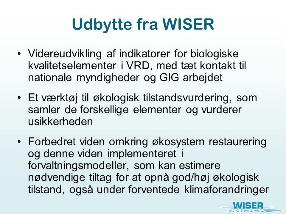 Udbytte fra WISER Videreudvikling af indikatorer for biologiske kvalitetselementer i VRD, med tæt kontakt til nationale myndigheder og GIG arbejdet Et værktøj til økologisk tilstandsvurdering, som samler de forskellige elementer og vurderer usikkerheden Forbedret viden omkring økosystem restaurering og denne viden implementeret i forvaltningsmodeller, som kan estimere nødvendige tiltag for at opnå god/høj økologisk tilstand, også under forventede klimaforandringer