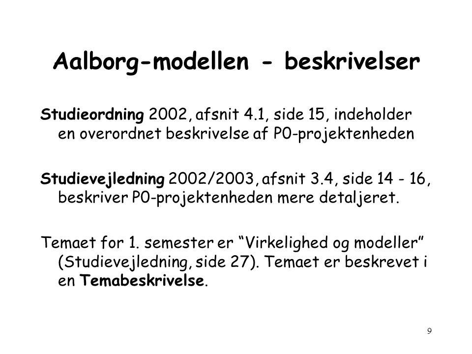9 Aalborg-modellen - beskrivelser Studieordning 2002, afsnit 4.1, side 15, indeholder en overordnet beskrivelse af P0-projektenheden Studievejledning 2002/2003, afsnit 3.4, side 14 - 16, beskriver P0-projektenheden mere detaljeret.