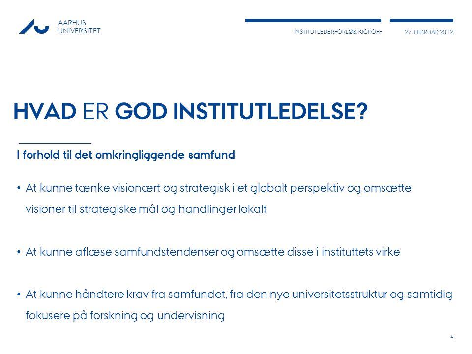 INSTITUTLEDERFORLØB, KICKOFF 27. FEBRUAR 2012 AARHUS UNIVERSITET HVAD ER GOD INSTITUTLEDELSE.