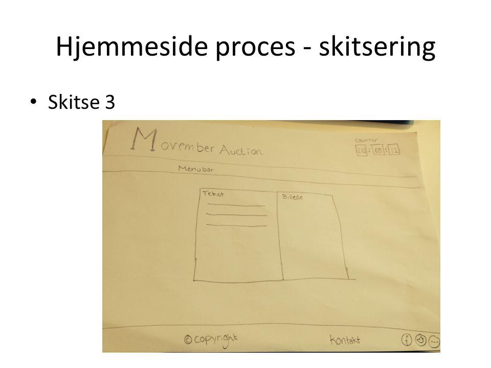 Hjemmeside proces - skitsering Skitse 3