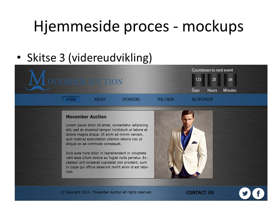 Hjemmeside proces - mockups Skitse 3 (videreudvikling)
