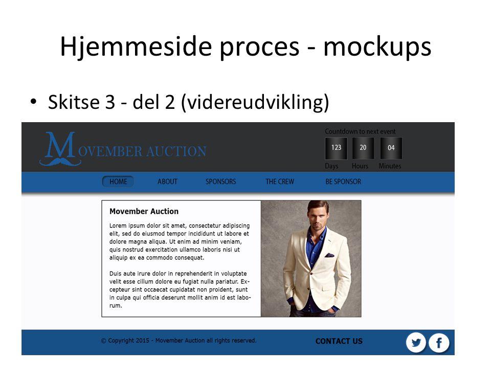 Hjemmeside proces - mockups Skitse 3 - del 2 (videreudvikling)