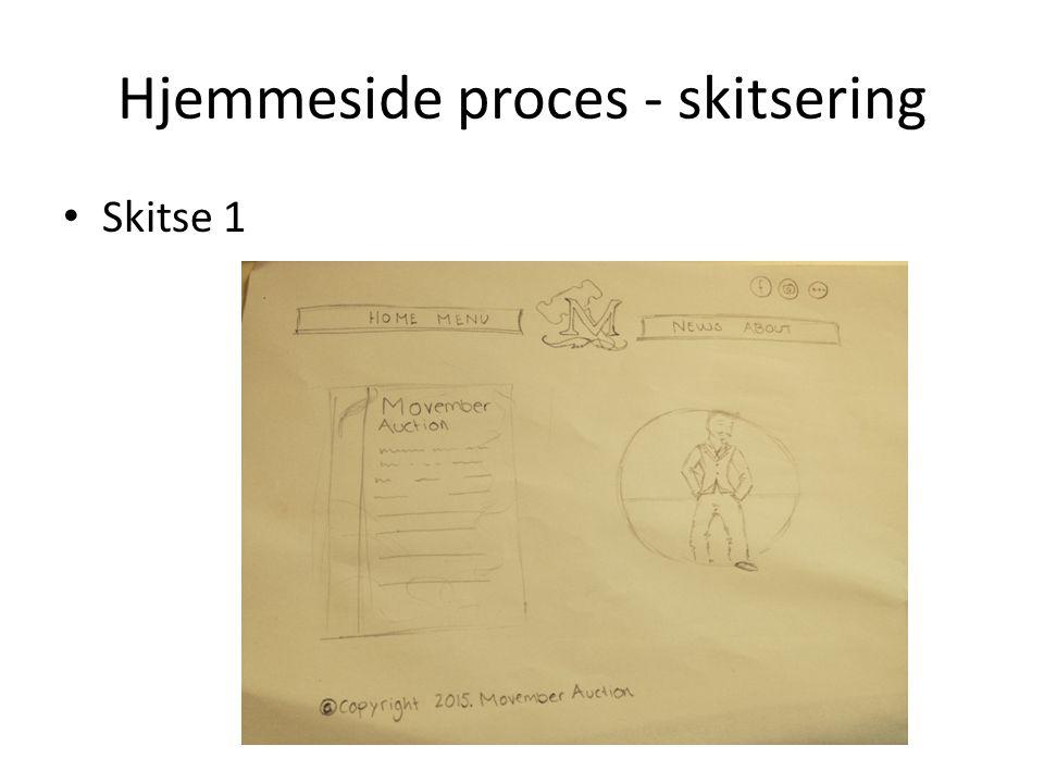 Hjemmeside proces - skitsering Skitse 1