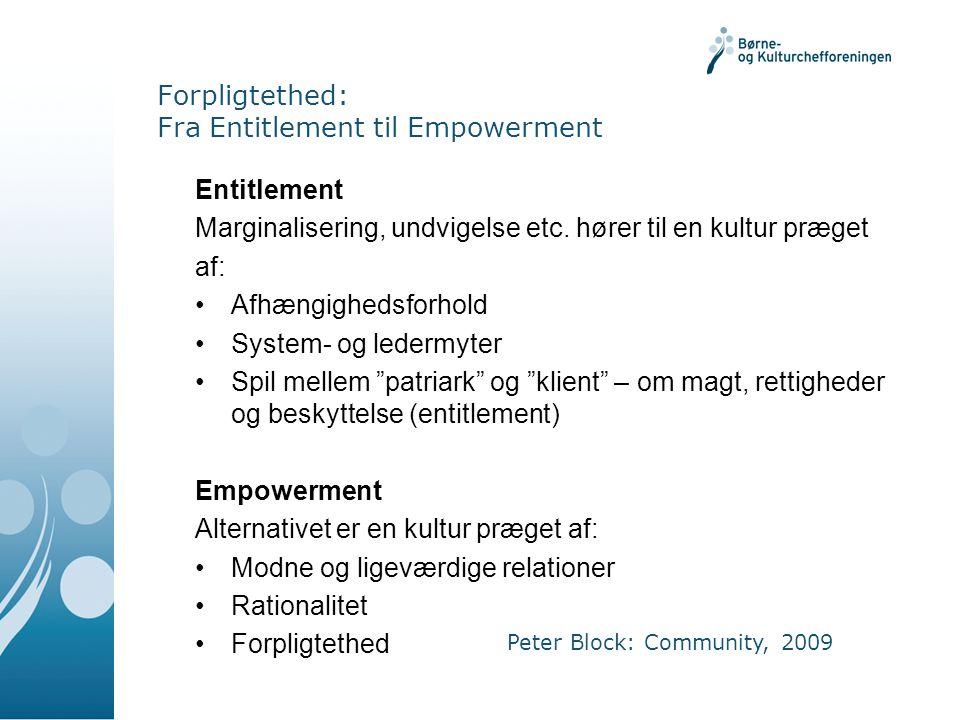 Forpligtethed: Fra Entitlement til Empowerment Entitlement Marginalisering, undvigelse etc.