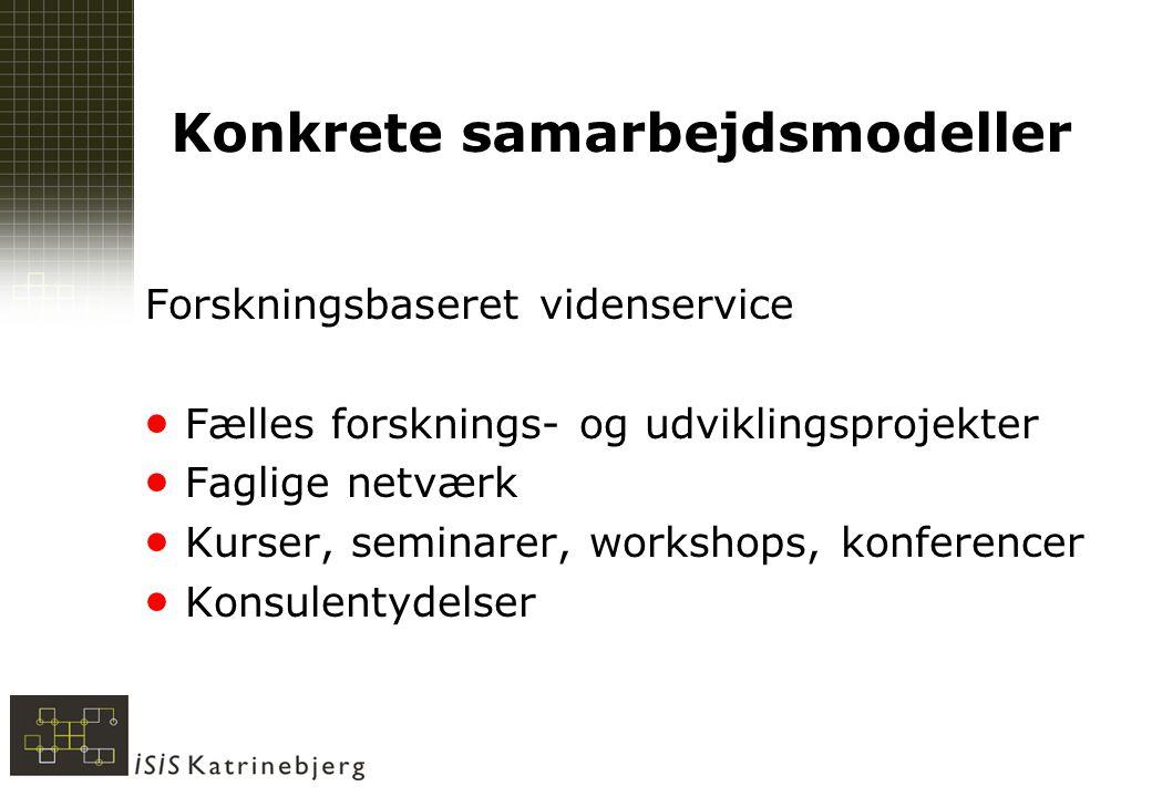 Konkrete samarbejdsmodeller Forskningsbaseret videnservice  Fælles forsknings- og udviklingsprojekter  Faglige netværk  Kurser, seminarer, workshops, konferencer  Konsulentydelser