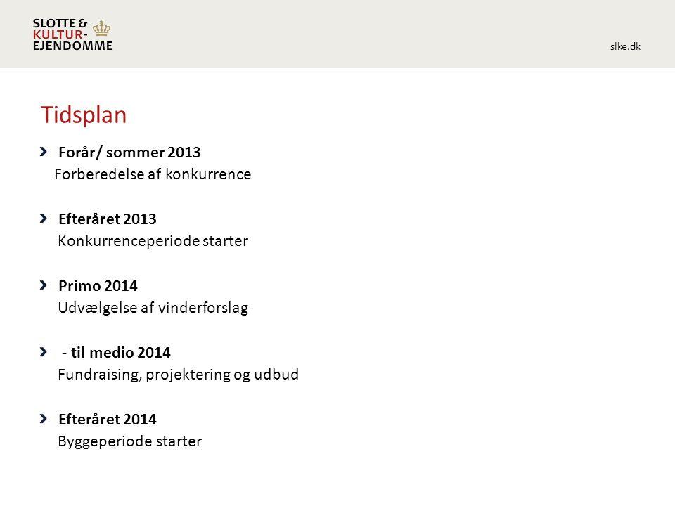 slke.dk Tidsplan Forår/ sommer 2013 Forberedelse af konkurrence Efteråret 2013 Konkurrenceperiode starter Primo 2014 Udvælgelse af vinderforslag - til medio 2014 Fundraising, projektering og udbud Efteråret 2014 Byggeperiode starter