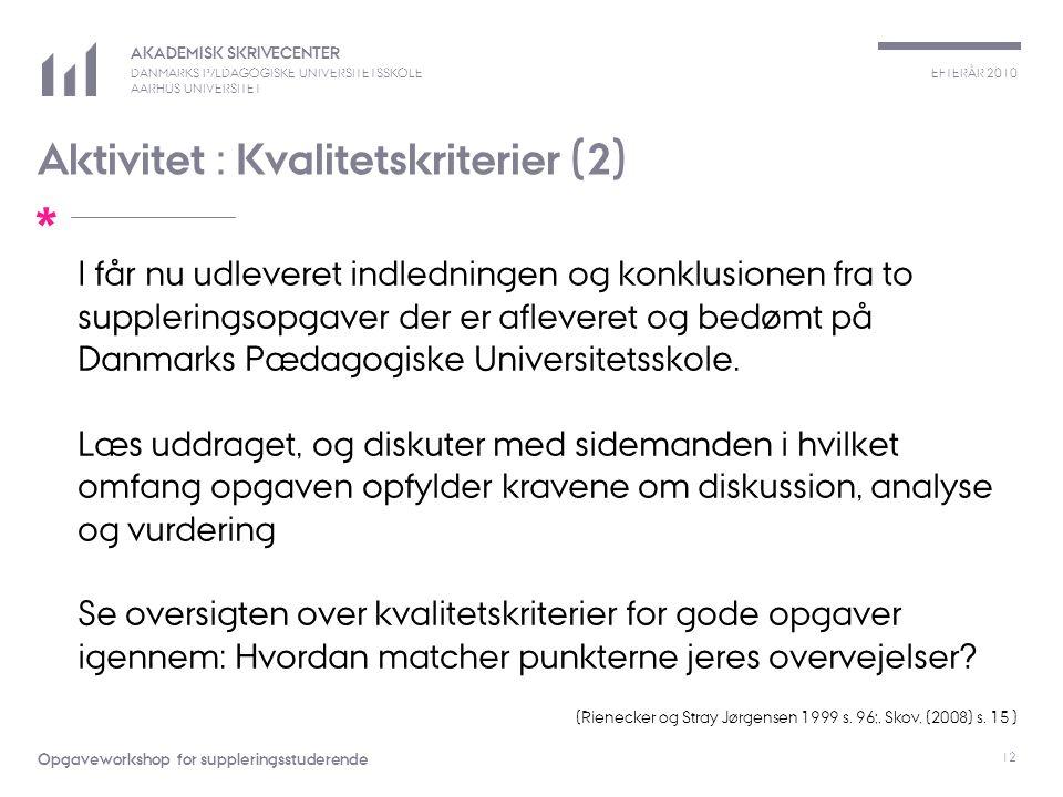 EFTERÅR 2010 AKADEMISK SKRIVECENTER DANMARKS PÆDAGOGISKE UNIVERSITETSSKOLE AARHUS UNIVERSITET * Opgaveworkshop for suppleringsstuderende 12 Aktivitet : Kvalitetskriterier (2) I får nu udleveret indledningen og konklusionen fra to suppleringsopgaver der er afleveret og bedømt på Danmarks Pædagogiske Universitetsskole.