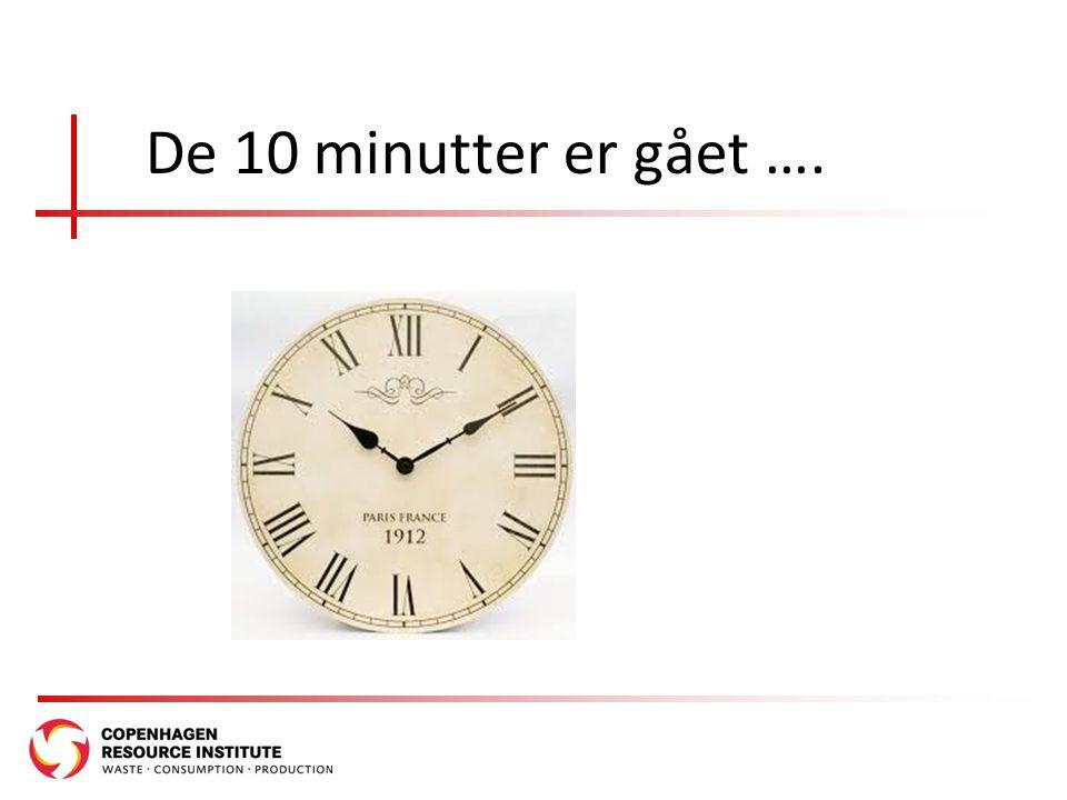De 10 minutter er gået ….