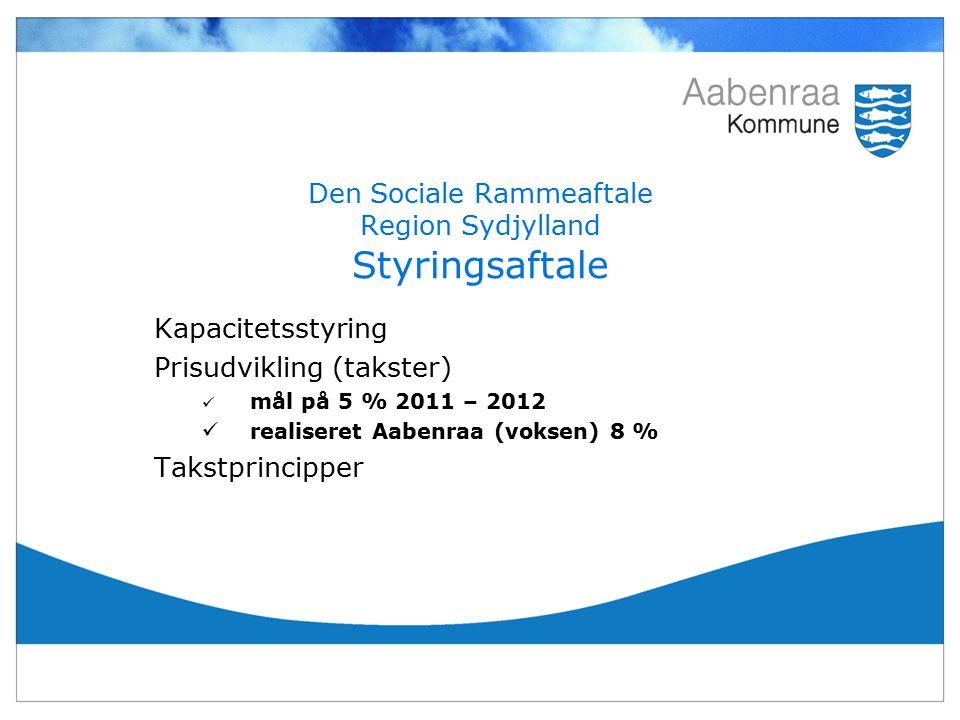 Den Sociale Rammeaftale Region Sydjylland Styringsaftale Kapacitetsstyring Prisudvikling (takster) mål på 5 % 2011 – 2012 realiseret Aabenraa (voksen) 8 % Takstprincipper