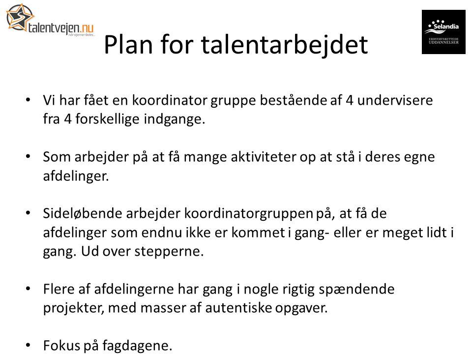 Plan for talentarbejdet Vi har fået en koordinator gruppe bestående af 4 undervisere fra 4 forskellige indgange.